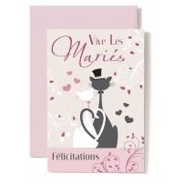 Carte Double Mariage Couple de chats