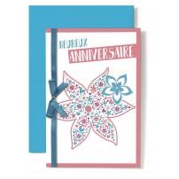 Carte Double Anniversaire Dessin fleur rose et bleu