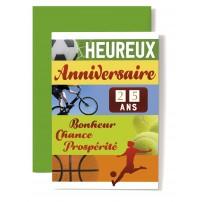 Carte Double Anniversaire Vélo, balles tennis et basket, footballeur