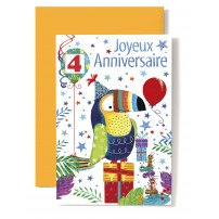 Carte Double Anniversaire Toucan sur cadeau