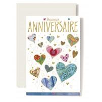 Carte Double Anniversaire Coeurs multicolore