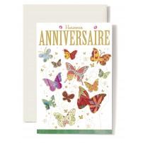 Carte Double Anniversaire Papillons multicolore