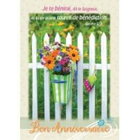 CARTE VB : Bouquet de fleurs,cœurs en tissus sur barrière