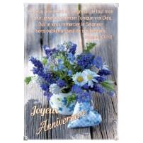 CARTE VB : Bouquet de fleurs et cœur en tissu sur table