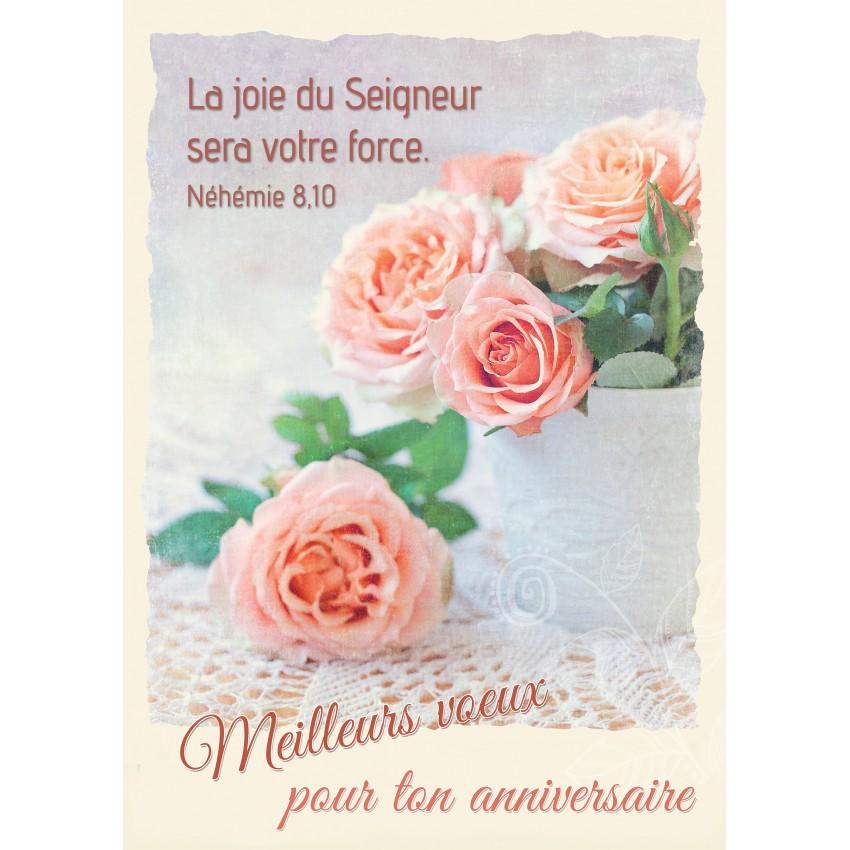 Carte Avec Verset Bouquet De Roses Sur Une Table