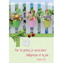 CARTE VB : Pots de fleurs sur une barrière