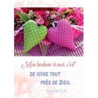 CARTE VB : Cœurs en tissus sur un arrangement floral