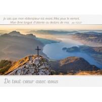 CARTE VB : Croix sur un sommet au-dessus d'une vallée
