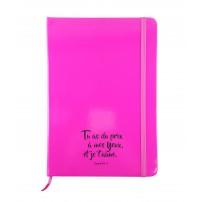 Carnet de notes rose fluo avec élastique