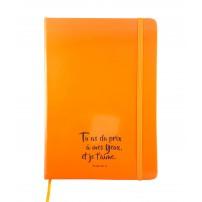 Carnet de notes orange fluo avec élastique