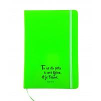 Carnet de notes vert fluo avec élastique