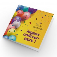 CARNET CARRE : Ballons multicolore sur fond jaune (JA)