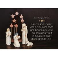 CARTE FA :Marie , Jésus et des bergers devant étoiles