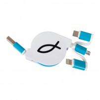 Cable chargeur smartphone/tablette rétractable Ichtus bleu