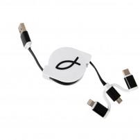 Cable chargeur smartphone/tablette rétractable Ichtus noir