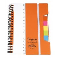 Carnet de note multifonction orange, règle et post-its