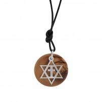 Collier avec pendentif en bois d'olivier et argent Etoile de David