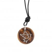 Collier avec pendentif en bois d'olivier et argent Colombe