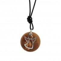 Collier avec pendentif en bois d'olivier et argent Ange