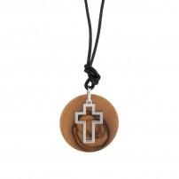 Collier avec pendentif en bois d'olivier et argent Croix