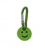 Porte-clé mousqueton avec jeton smiley vert