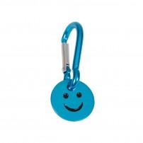 Porte-clé mousqueton avec jeton smiley turquoise