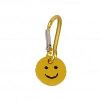 Porte-clé mousqueton avec jeton smiley jaune