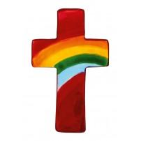 Mini-croix arc-en-ciel en stéatite rouge