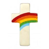 Mini-croix arc-en-ciel en stéatite blanche
