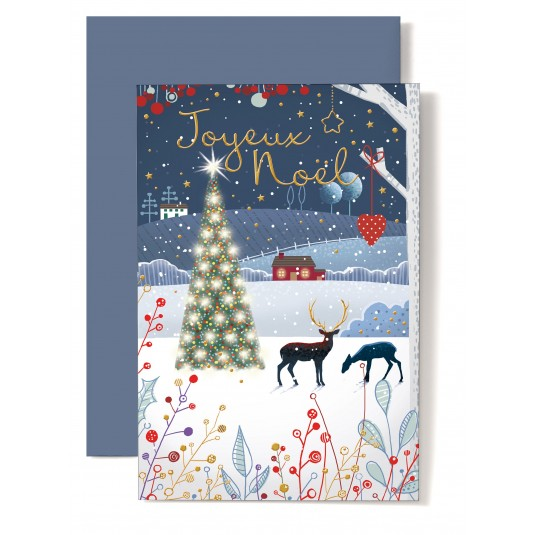 Carte Double Fin D'annee paysage de Noël, sapin, cerfs et plantes