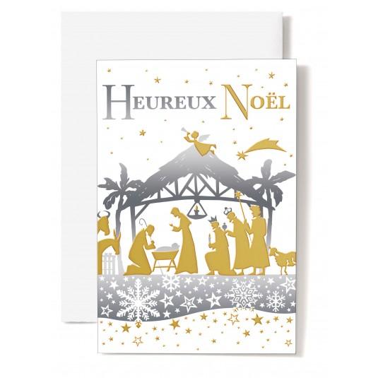 Carte double Heureux Noël Crèche en ombres chinoises