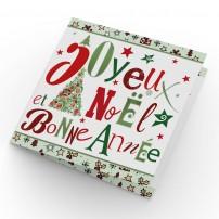 Carte double Joyeux Noël et Bonne Année Sapin et étoiles dessinés