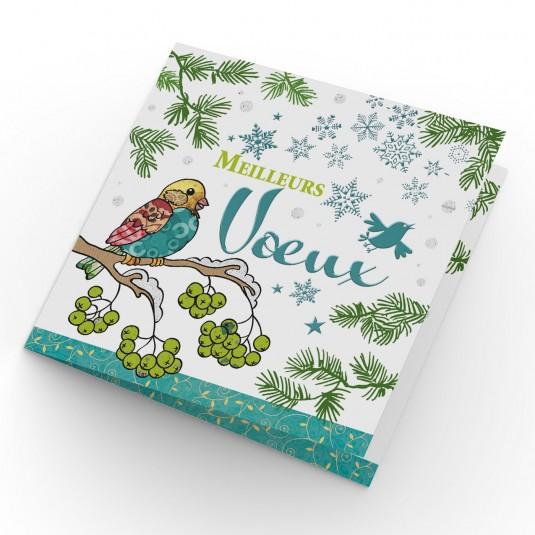 Carte double Meilleurs Vœux Oiseaux sur une branche d'arbre