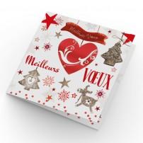 Carte double Meilleurs Vœux Cœur et décorations de Noël