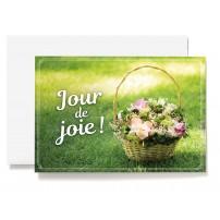 CARNET : Panier de fleurs posé sur l'herbe