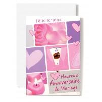 Carte Double Anniversaire De Mariage Rose et coeurs roses