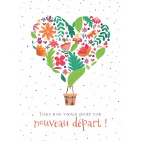 Carte Avec Message Mongolfière formée par des fleurs