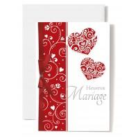 Carte Double Mariage Cœurs et ruban rouge