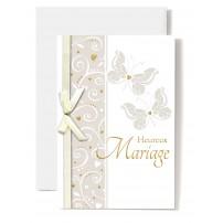 Carte Double Mariage Papillons et ruban blanc