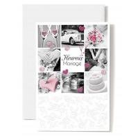 Carte Double Mariage Composition photos : voiture, cœur rose, gâteau...