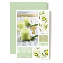 Carte Double Communion Bougies vertes, coupe, fleurs vertes