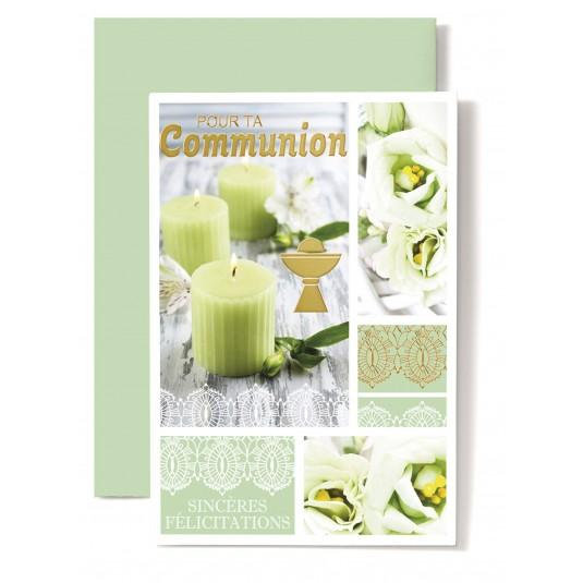 Carte double Communion : Bougies vertes, coupe, fleurs vertes
