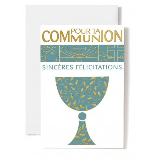 Carte double Communion : Coupe avec décorations dorées