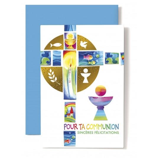 Carte double Communion : Croix et coupe multicolores