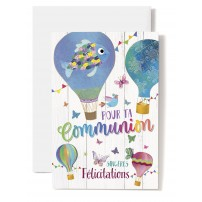 Carte Double Communion Mongolfières dessinées, poisson, papillons