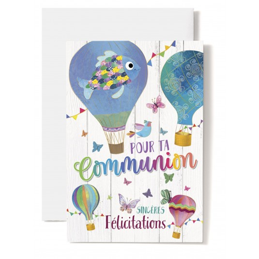 Carte double Communion : Mongolfières dessinées, poisson, papillons