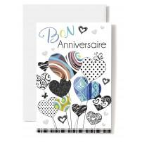 Carte Double Anniversaire Cœurs multicolores dessinés, tons bleus