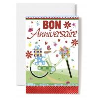 Carte Double Anniversaire Vélo, cadeaux et oiseau