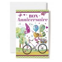 Carte Double Anniversaire Vélo, ballons et fleurs