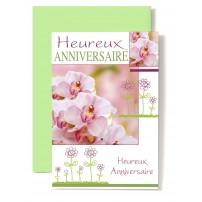 Carte Double Anniversaire Orchidées rose, fleurs dessinées